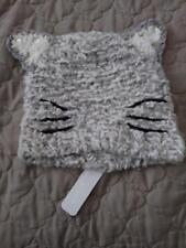 Soft Grey Beanie Cat Ears Knitted Cap Hat Fashion Cute with whiskers