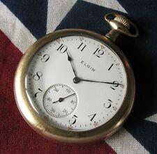 Vintage Elgin Pocket Watch 12 size 15 jewels Gold filled case RUNS