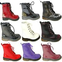 LADIES VINTAGE LACE UP ZIP PATENT WOMENS ANKLE HIGH BOOTS PUNK COMBAT SIZE 3-8