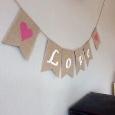 ❤ Wedding Engagement Valentines LOVE Bunting Banner Hessian Vintage Burlap.❤️