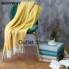 Artificial Wool Soft Lap Plaid Knitted Throw Blanket with Tassel for Bed Sofa