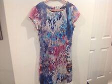 Sportsgirl Cap Sleeve Multi Print Dress size XS 6 8 Multi-Coloured Stretchy zip