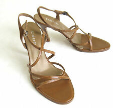BEBE Premium Leather Brown Strappy Heels Shoes Womens Sz 7 1/2 B