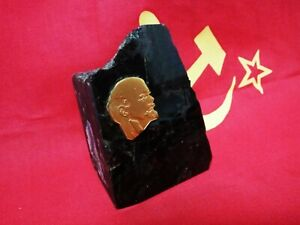 VTG Soviet Era Desktop Souvenir natural stone LENIN Gold Gilded Bas-relief USSR