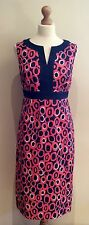 BODEN DRESS SIZE 10 L NAVY BLUE PINK SPOT COTTON