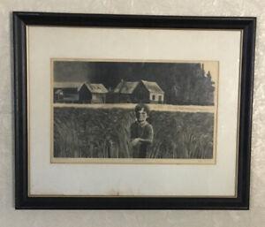 "Mid-Century Woodblock 1960s Signed Lynd Ward, ''Algoma Field"" WPA Artist Proof"