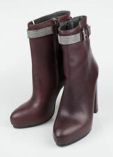 New. BRUNELLO CUCINELLI Purple Leather Booties Heels Boots Shoes 7/37 $1970