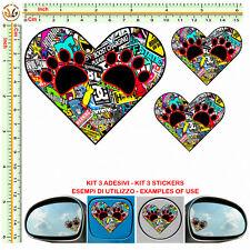 adesivo cuore orme cane serbatoio herts stickers bomb mirror helmet moto  3 pz