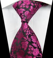 New Classic Florals Rose Black JACQUARD WOVEN 100% Silk Men's Tie Necktie