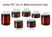 Empty PET Plastic AMBER Jar w/ BLACK Aluminum Lid Cream food Cosmetic 50ml-250ml