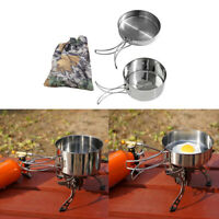 2 Stück Camping Kochgeschirr Topf und Pfanne Set mit faltbarem Griff und