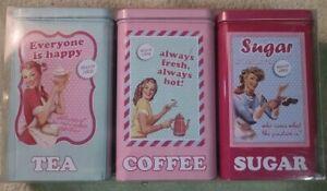 Retro Kitchen 3 Tin Canister Set Flour Coffee Sugar