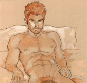 ORIGINAL LARGE MALE NUDE gouache - REMY - by GERMANIA