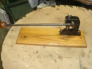 Vintage Rare Metal / Wood Base Crackum Nut Cracker Arbor Press Tool FREE SHIP