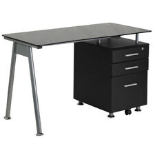 Computer Desk With Black Tempered Glass Top Amp File Cabinet Pedestal In Black
