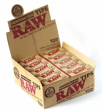 1 box - RAW WIDE Perforated Filter tips Natural Unrefined Hemp and Cotton