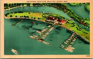 Vtg Linen Postcard Belle Isle Detroit Michigan MI - Detroit Yacht Club