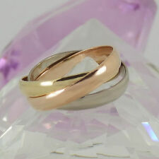 Markenlose aus echtem Edelmetall ohne Steine Ringe im Dreierring-Stil für Damen