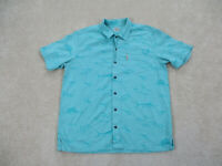 Columbia Button Up Shirt Adult Large Blue Green Outdoors Camp Casual Mens B21