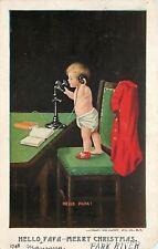 "Bernhardt Wall~""Hello Papa!""~Little Boy in Diaper~Candlestick Telephone~1906"