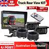 "7"" HD LCD Monitor 12V/24V IR CCD 4PIN Car Reversing Two Camera For Truck Caravan"