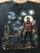 Freddy Cruger vs Jason T-shirt Large Black Starry Night halloween Friday the 13