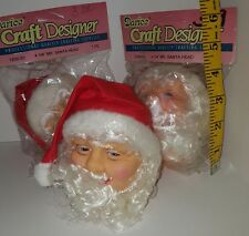 Lot of 3 Vtg Darice Mr Santa Clause Head 4 1/4 Plastic Doll Heads NOS 1200-03