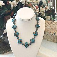 Vintage Art Deco Venetian Murano Art Glass Necklace- Turquoise Blue & Aventurine