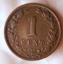 1892 NETHERLANDS CENT - Excellent Coin - FREE SHIP - BARGAIN BIN #171
