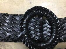 Classic verni noir tressé tressé ceinture taille unique