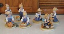 Homco Denim Days 7 Pc Lot Figurines 1504 1518 1506 1513 1503 1521 Vgc Vintage