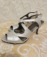"Life Stride Note Silver Bling Peep Toe Open Back  3 1/2"" Heel Dress Shoes 8 1/2"