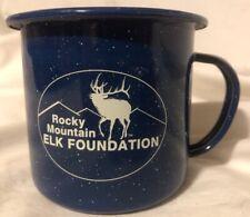 Rocky Mountain Elk Foundation Coffee Mug Cup Royal Speckled Blue Enameled Metal