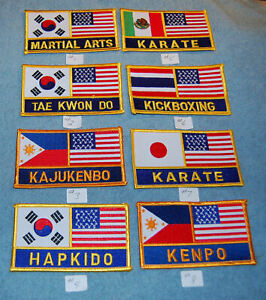 Various Martial Arts With USA & International Country Embroidered Patches, New