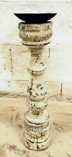 Antique Indian Pillar Leg Wood Carved Vintage Candle stand holder Raw white A