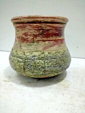Vintage Old Wooden Brass Fiting Unique Shape Color Painted Flower Pot,Collectibl