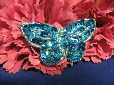 TURQUOISE SEQUIN BEADED BUTTERFLY 0647-S3