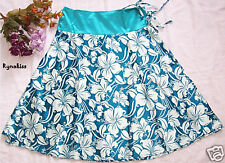 ♥♥♥ NEW Sweet Sexy Blue Satin Floral Wrap Skirt M ♥♥♥