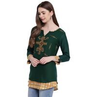Women Indian Short Embroidery Rayon Kurti Tunic Kurta Top Shirt Tunic Dress