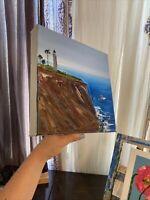 Palos Verdes En Plein Air Oil On Canvas Pacific Ocean Cliff