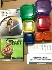 BODY BEAST & 10 MINUTE TRAINER WORKOUT FIT EXERCISE TRAINING + 7PC PORTION POTS