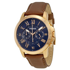 Fossil Grant Chronograph Blue Dial Brown Leather Mens Quartz Watch FS5068