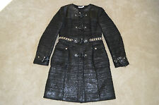 Givenchy Black Quilted Chain Waist Duffle Popper Coat Jacket Womens EU 40 UK 12