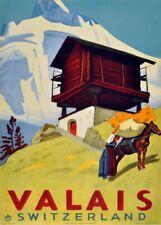 Vintage Ski Posters VALAIS, Swiss, 1936, Art Deco Travel Print