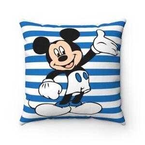 Blue & White Striped Mickey Mouse Spun Polyester Square Pillow