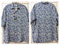 NWT $65 TURNBURY MEN'S SHIRT LARGE Disco Blue w Green/White Floral SILK & LINEN