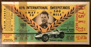 1963 Indianapolis 500 Indy 500 Motor Speedway Race Ticket Stub