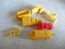 """Vintage Small Plastic Tractor with Accessories 1 7/8"""" Long"""
