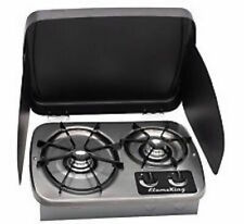 LP Gas Drop-In 2 Burner Cook Top Stove Stainless Steel W/Cover Rv Marine  New