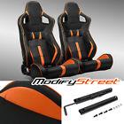 2 X Blackorange Strip Pvc Leather Leftright Sport Racing Bucket Seats Slider